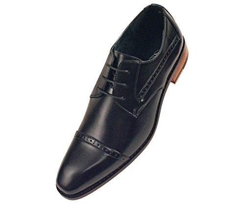 Amali Mens Lisse Cap Bruni Robe Orteil Chaussure Avec Perforation Sur Le Capuchon Et Le Style De Style Timothy Noir