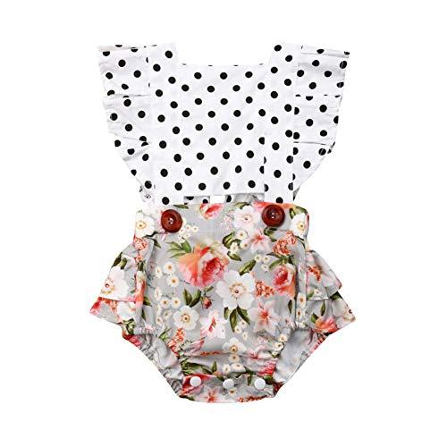 (Toddler Infant Baby Girls Ruffles Backless Romper Bodysuits Polka Dot Floral Outfit)