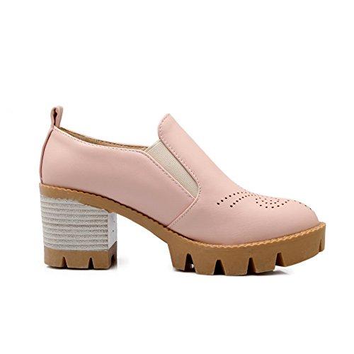 Balamasa Mujeres Chunky Heels Ahueca Hacia Fuera La Plataforma Urethane Walking Zapatos Pink