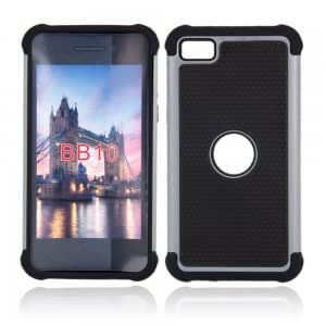 PC + Silicone Shock-proof and Drop-resistant 3-in-1 Hard Protection Case for Blackberry Z10 Gray