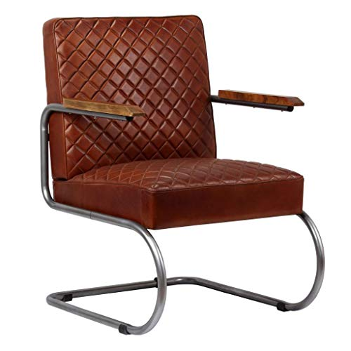 vidaXL-Sessel-Echtleder-Dunkelbraun-Schwingstuhl-Lehnstuhl-Polstersessel-Stuhl