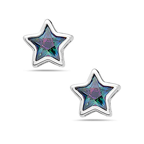 Sterling Silver Mystic Topaz Color Cubic Zirconia Star Stud Earrings – 925 Shiny Star - Hypoallergenic ()