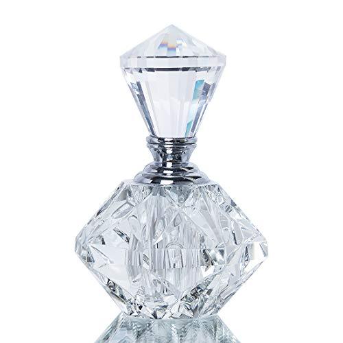 Diamond Perfume Bottle - H&D Clear Carved Crystal Empty Mini Refillable Perfume Bottle