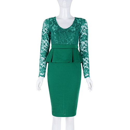 Babyonlinedress - Vestido - Manga Larga - para mujer Verde
