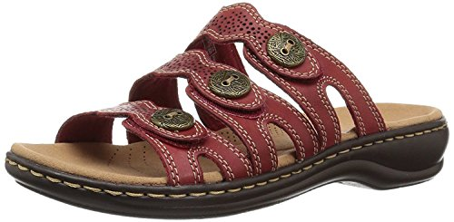 - CLARKS Womens Leisa Grace Leather Open Toe Casual Slide, Red Leather, Size 9.0