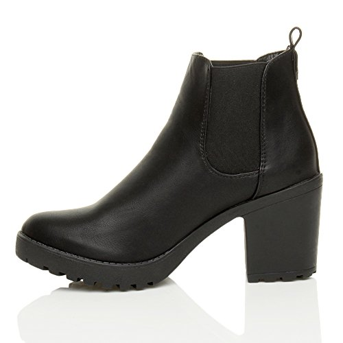 Heel Block Booties Matte Ankle Shoe on Chelsea Biker Boots Ajvani high Black Ladies Elastic mid Chunky Womens Pull Size x1nqIpZX
