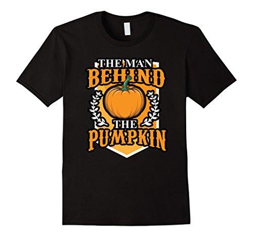 Mens Halloween Costume Shirt The Man Behind The Pumpkin Large Black