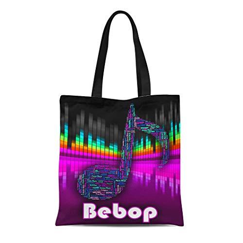 Semtomn Canvas Tote Bag Shoulder Bags Acoustic Bebop Music Showing Sound Track and Be Bop Women's Handle Shoulder Tote Shopper Handbag