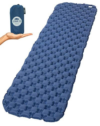 Leisure Co Ultralight Inflatable Backpacking Sleeping Pad - Lightweight Only 1 Pound - Compact and Compressible - Perfect Air Mat for Camping, Hiking, Hammocks, Cots, Tents, Sleeping Bags and Travel