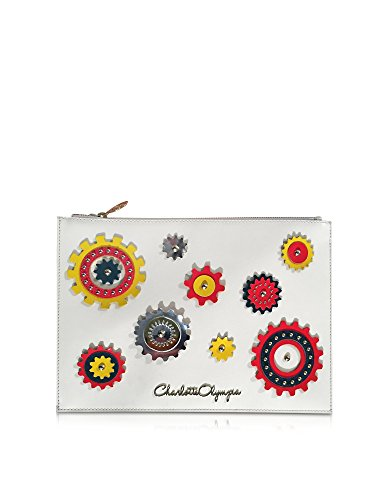 CHARLOTTE OLYMPIA WOMEN'S P163029102 WHITE LEATHER CLUTCH