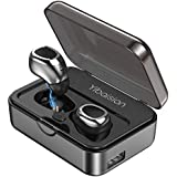 True Wireless Earbuds, Bluetooth Headphones Sweatproof Sports Earphones in-Ear HiFi 3D Stereo Sound Headsets 50H Playtime Built-in Mic Bluetooth Earbuds 2200 mAh Portable Charging Case