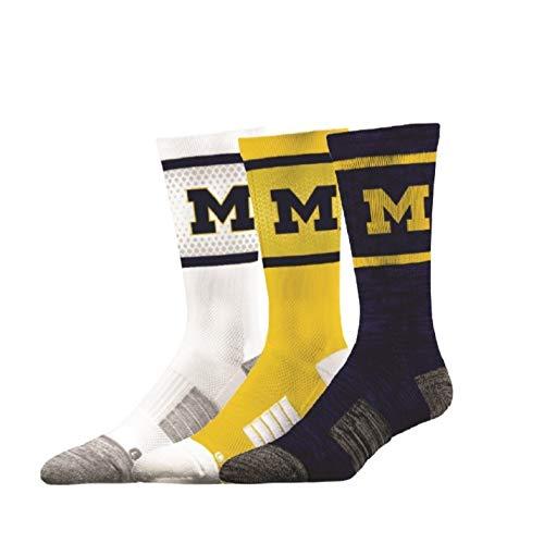 - Elite Fan Shop Michigan Wolverines Socks 3-Pack - Mens (8-12) - Navy