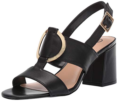 Bella Vita Women's Tanya Slingback Sandal with Metal Ornament Shoe, Black Leather, 7.5 W US