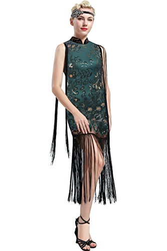 BABEYOND 1920s Flapper Dress Long Fringe Gatsby Dress 1920s Flapper Gatsby Costume Floral Beaded Vintage 1920s Cheongsam Style Dress (Dark Green, Large)
