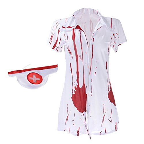 MagiDeal Zombie Nurse Costume Horrible Bloody Doctor Nurse Outfit for Halloween and -