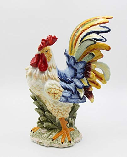 Cosmos Gifts Fine Ceramic Multi Colored Country Rooster Figurine 15