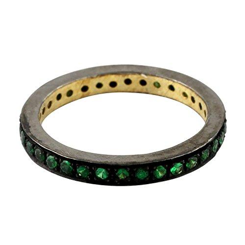 Mettlle Solid 925 Sterling Silver Tsavorite Designer Eternity Fashion Ring for Women Size 7