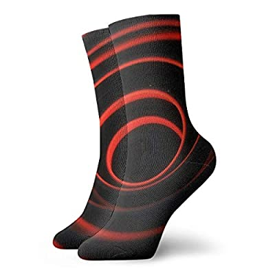 WEEDKEYCAT Glowing Red Spiral 3D Shape Adult Short Socks Cotton Cozy Socks for Mens Womens Yoga Hiking Cycling Running Soccer Sports