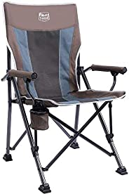 Timber Ridge Camping Chair 400lbs Folding Padded Hard Arm Chair High Back Lawn Chair Ergonomic Heavy Duty with