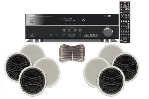 Yamaha 3D-Ready 5.1-Channel 500 Watts Digital Home Theater Audio/Video Receiver with 1080p-compatible HDMI repeater & Upgraded CINEMA DSP + Yamaha Universal iPod & iPhone Dock + Yamaha Custom Easy-to-install Natural Sound In-Ceiling 3-Way 100 watt Speakers (Set of 4) with Dual Tweeters & 6-1/2″ Woofer + 100ft 16 AWG Speaker Wire