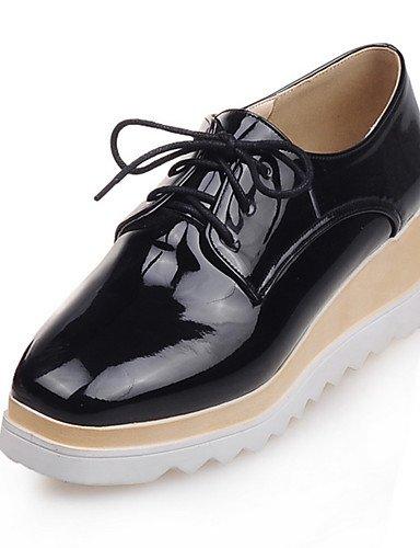 ZQ Zapatos de mujer-Tacón Cuña-Plataforma / Punta Cuadrada-Oxfords-Vestido / Casual-Semicuero-Negro / Rojo / Oro , golden-us8 / eu39 / uk6 / cn39 , golden-us8 / eu39 / uk6 / cn39 golden-us6.5-7 / eu37 / uk4.5-5 / cn37