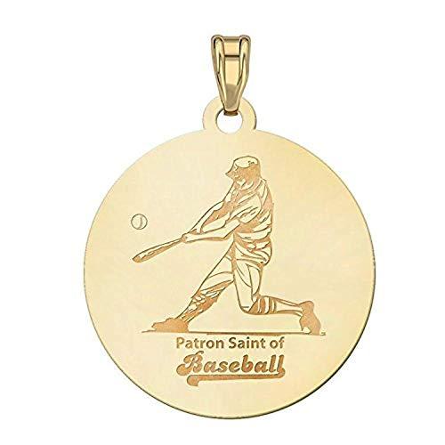 Saint Rita Religious Medal Baseball Religious Medal 1 Inch Solid 14K White Gold