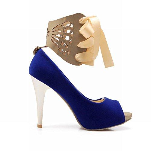 Latasa Womens Chic Charming Lace-up Ankle-wrap Peep-toe Stiletto High-heel Dress Pumps Shoes Blue nI1xyxEk7Y