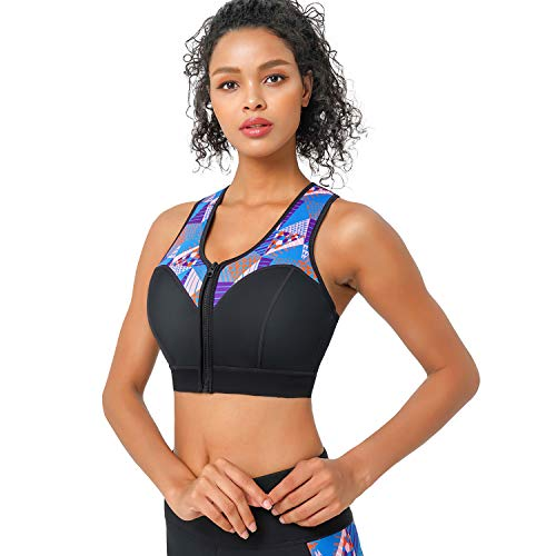 CtriLady High Impact Workout Sports Support Bra Full Cup Top Vest with Removable Pads, Front-Zipper for Women Fitness, Yoga, Diving (Blue&Black, 2XL) ...