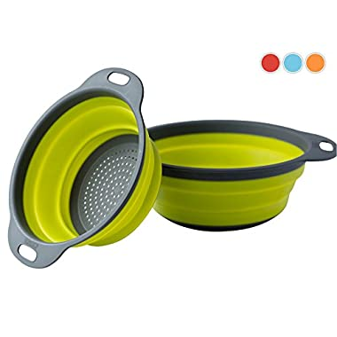 Colander Set - 2 Collapsible Colanders (Strainers) Set By Comfify - Includes 2 Folding Strainers Sizes 8  - 2 Quart and 9.5  - 3 Quart Green and Grey