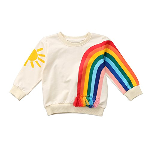 Unisex Baby Sun and Rainbow Sweatshirt Autumn Cotton Long Sleeve Shirt Top (2-3 Years, A)