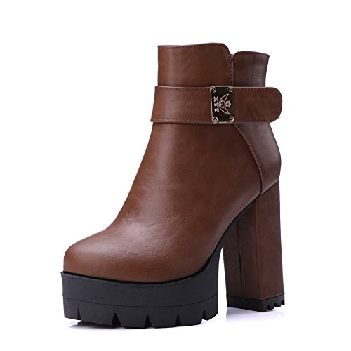 1TO9 Womens Chunky Heels Buckle Platform Soft Material Boots Brown LmyTdLiVyh