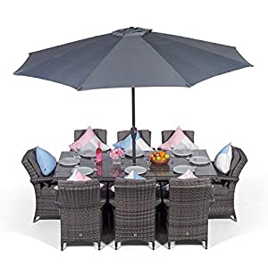 Arizona Rattan Dining Set | Rectangle 8 Seater Grey Rattan Dining Set | Outdoor Poly Rattan Garden Table & Chairs Set…