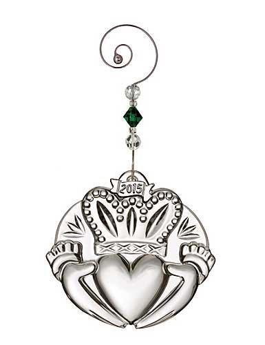 (Waterford 2015 Annual Irish Claddagh Crystal Christmas Ornament)