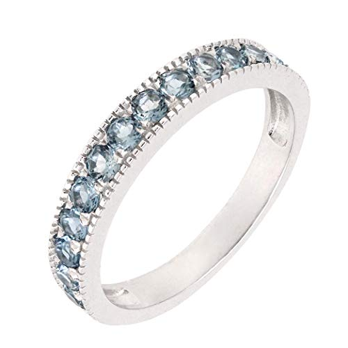 BL Jewelry Sterling Silver Round Genuine Natural Gemstone Stackable Half Eternity Band Ring (8, London-Blue-Topaz)
