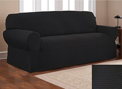 Fancy Collection Sure Fit Stretch Fabric Sofa Slipcover Sofa And Love Seat Covers Solid New #Stella (Black, 2 pc - Fabric Set Loveseat Sofa