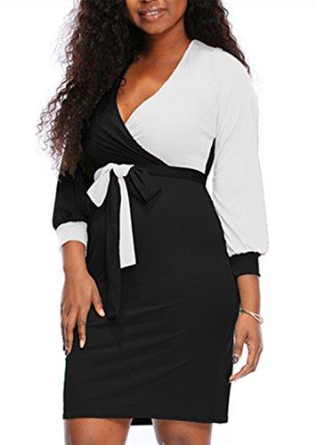 ECOFCOS Women's Vogue V-Neck Long Lantern Sleeve Midi Bodycon Skirt Dress With Tie Belt (Black White, XL)