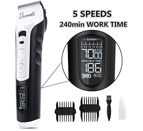 🥇 Pecute Dog Clippers Rechargeable Pet Clippers – 5 Speeds LCD Display
