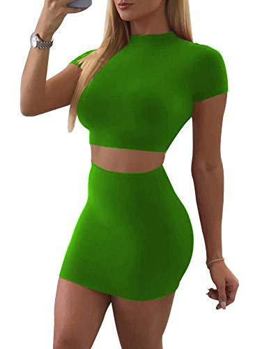 SINRGAN Women's Casual 3 Piece Short Sleeve Crop Top Bodycon Skirt Set Green ()