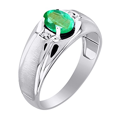 Genuine Emerald & Diamond Ring Set in Sterling Silver With Satin Finish