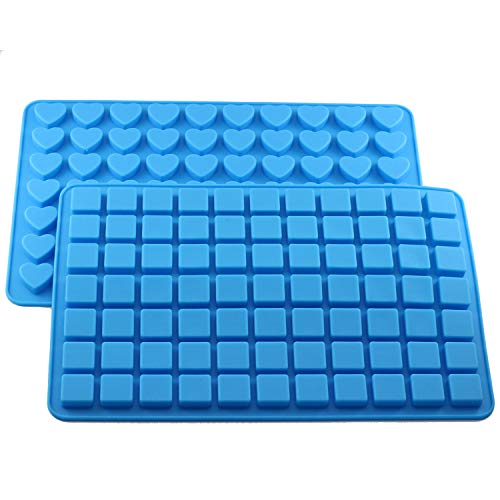 Mujiang 70 Cavity Heart 77 Cavity Square Ice Cube Tray Silicone Candy Chocolate Molds Set of ()
