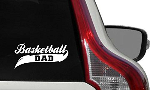 Price comparison product image Dad Basketball Banner Car Vinyl Sticker Decal Bumper Sticker for Auto Cars Trucks Windshield Custom Walls Windows Ipad Macbook Laptop Home and More (WHITE)