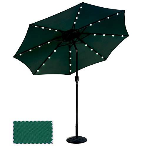 Powered Patio Umbrella 32LED Lights Solar Umbrella with Tilt and Crank (Forest Green) ()