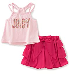 Juicy Couture Baby Girls\' 2 Pieces Shorts Set-Straps Top, Pink, 24M
