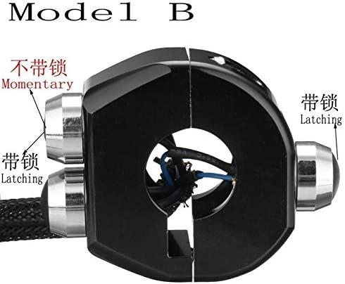 JPLJJ アルミ合金 オートバイ スイッチ オートバイ スイッチ インスタントロック スイッチ 防水 22ミリメートル ハンドルバー ボタンターンシグナル (色 : Black B)