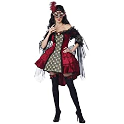 California Costumes Women's Eye Candy - Mysterious Masquerade Adult, Burgundy/Black, 2X