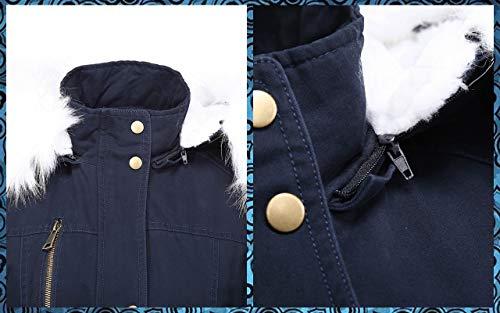 Bellivera Women's Twill Parka Jacket with Faux Fur Collar,Warm Winter Coat for Women 9218 Bluewhite M