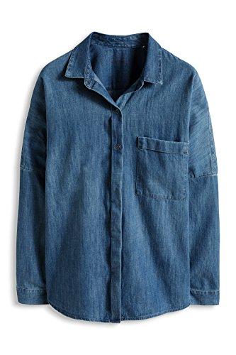 edc by Esprit 016CC1F015-Blusa Mujer Bleu (Blue Medium Wash)