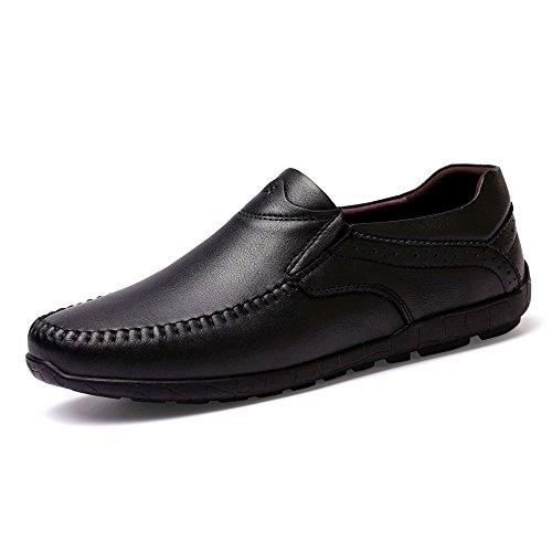 uomo in traspiranti shoes da da leggeri EU vera Scarpe Mocassini Nero Dimensione Color slip Mocassini guida on 39 Meimei pelle xwBqIXx