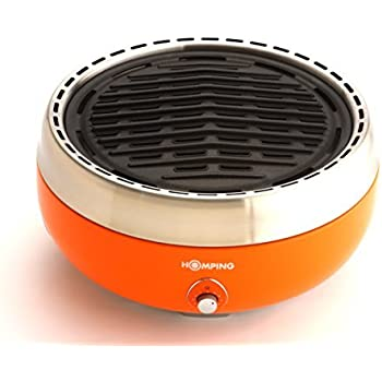 Homping Grill - Ultimate Portable Charcoal BBQ Grill. Produces Less smoke. Combined with its electric fan for air/heat control. Tailgating grill (Orange)