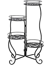 4 Circular Pattern Metal Folding Design Plants Stand Black Paint Can Be Used Indoor and Outdoor No Assembly Required Plant Stand
